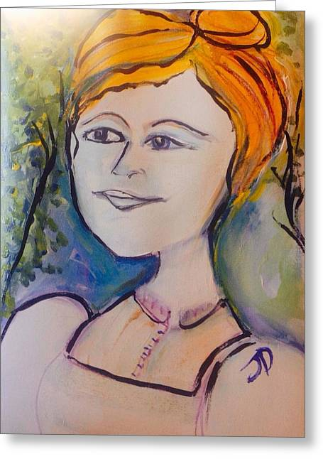 Then One Day She Went Outside  Greeting Card by Judith Desrosiers