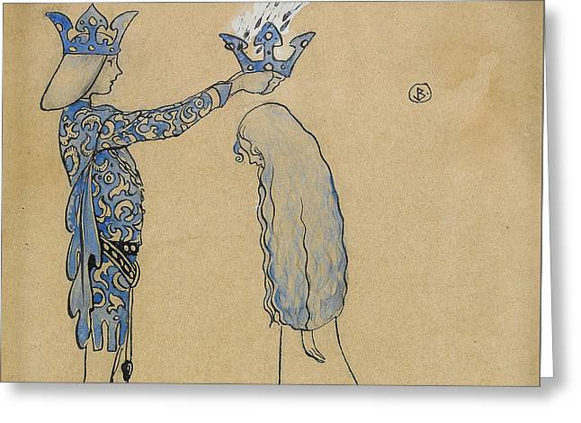 Then Put The Prince A Crown Of Gold On Her Head Greeting Card by John Bauer