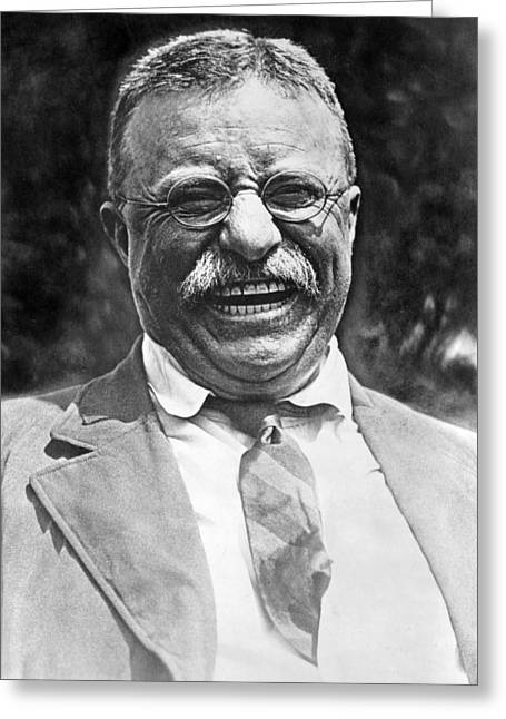 Famous People Photographs Greeting Cards - Theodore Roosevelt laughing Greeting Card by International  Images