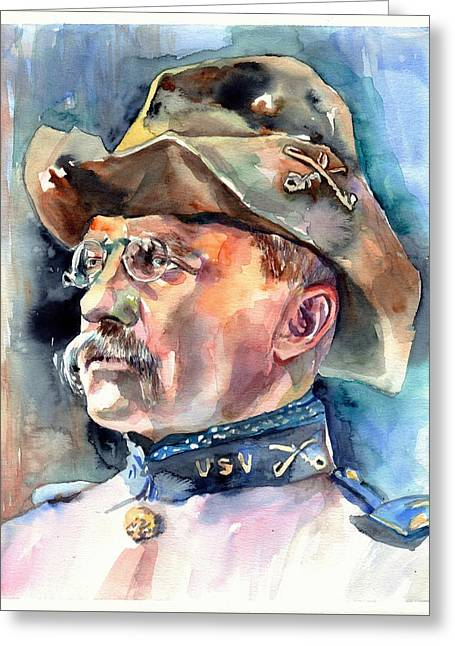 Theodore Roosevelt Portrait Watercolor Greeting Card