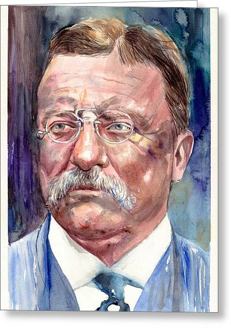 Theodore Roosevelt Watercolor Portrait Greeting Card