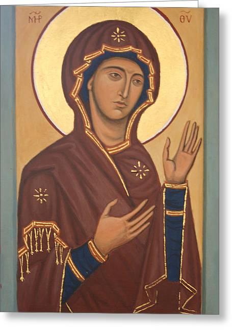 Theotokos Greeting Card by Phillip Schwartz