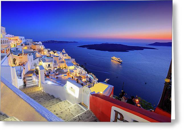 Thera Sunset  Greeting Card by Emmanuel Panagiotakis