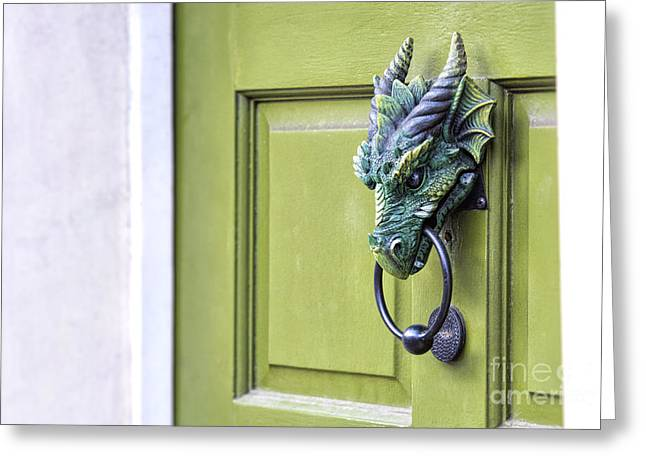 There Be Dragons Inside Greeting Card by Tim Gainey