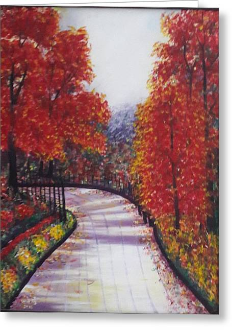 There Is Always A Bright Road Ahead Greeting Card by Usha Rai