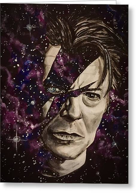 Greeting Card featuring the painting There's A Starman Waiting In The Sky by Joel Tesch