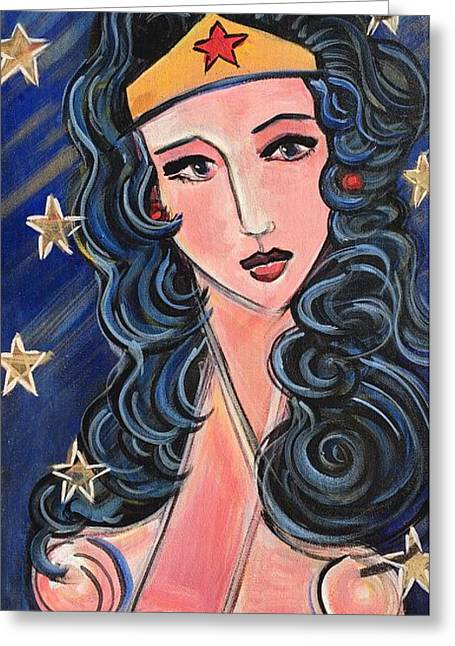 Greeting Card featuring the painting There's A Wonder Woman In Us All by Laurie Maves ART