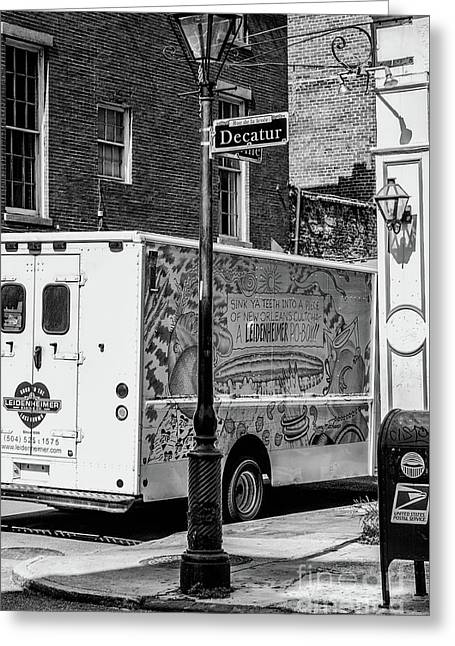 There Goes That Leidenheimer Truck Again - Nola Bw Greeting Card by Kathleen K Parker