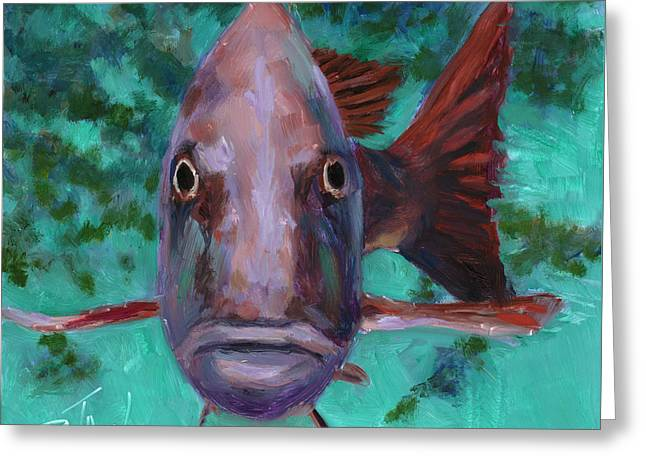 There's Something Fishy Going On Here Greeting Card by Billie Colson