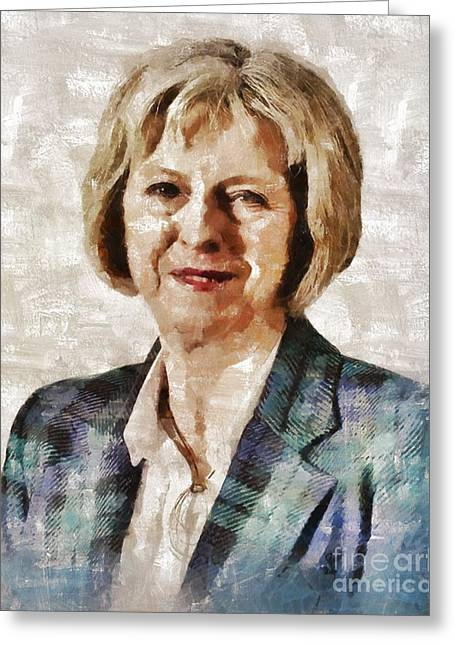 Theresa May, Prime Minister Of The United Kingdom By Mary Bassett Greeting Card
