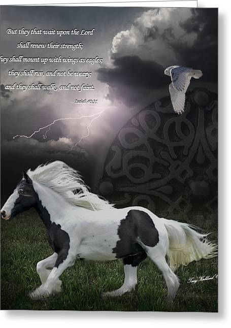 Storm Digital Greeting Cards - They Shall Run and Not Be Weary Greeting Card by Terry Kirkland Cook