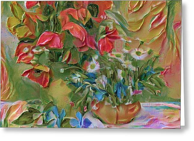 Thick Paint Flowers Greeting Card by Yury Malkov