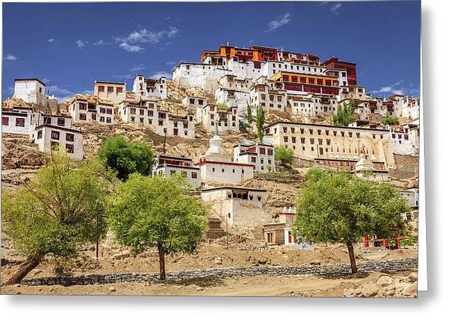Greeting Card featuring the photograph Thikse Monastery by Alexey Stiop