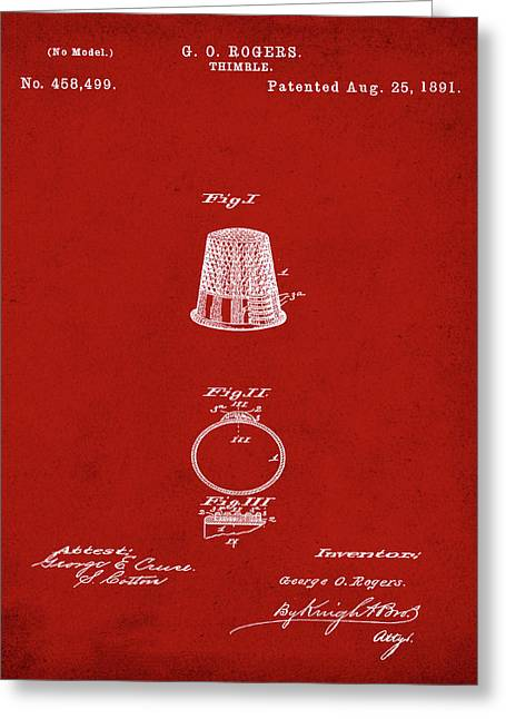 Thimble Patent 1891 In Red Greeting Card