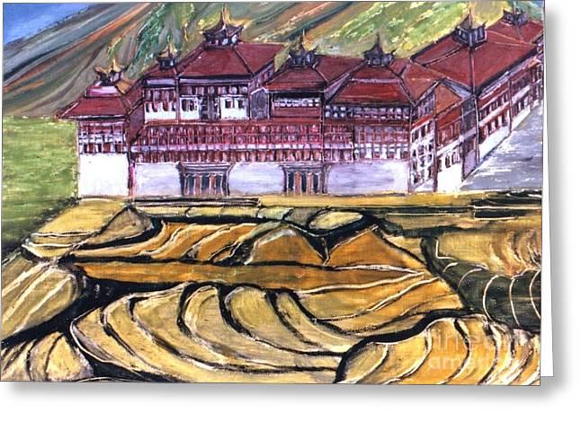 Thimpu Dzong Greeting Card by Duygu Kivanc