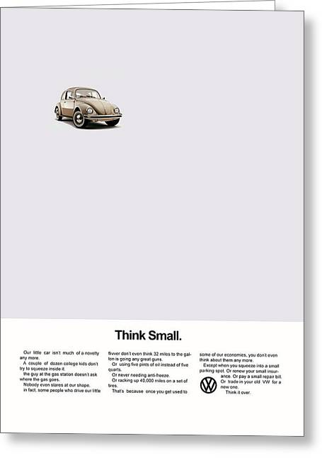 Volkswagen Beetle Greeting Cards - Think Small Greeting Card by Mark Rogan