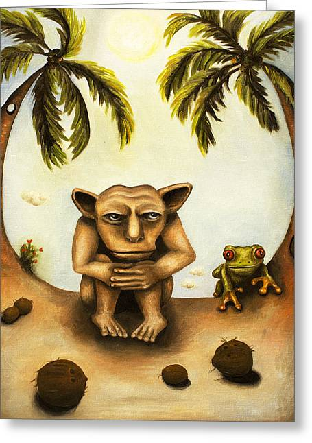 Tree Frog Greeting Cards - Thinking About Coconuts Greeting Card by Leah Saulnier The Painting Maniac