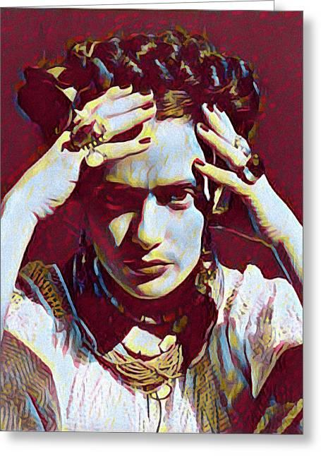 Thinking Frida Greeting Card by Gary Grayson