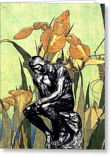 Thinking In The Garden Greeting Card by John Vincent Palozzi
