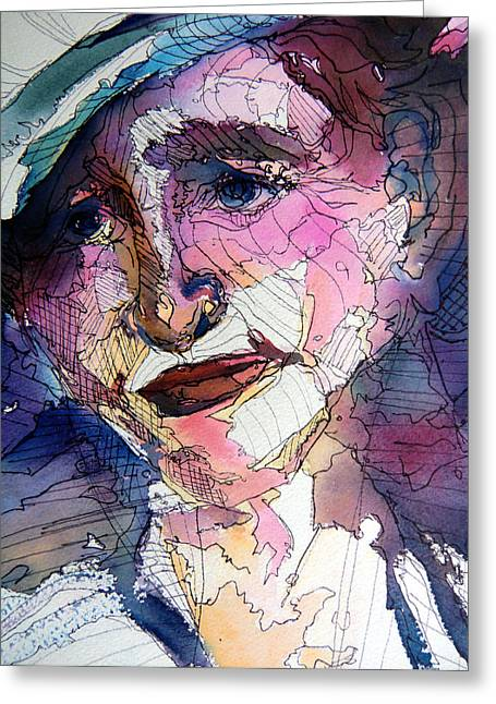 Gestures Mixed Media Greeting Cards - Thinking Greeting Card by Mindy Newman