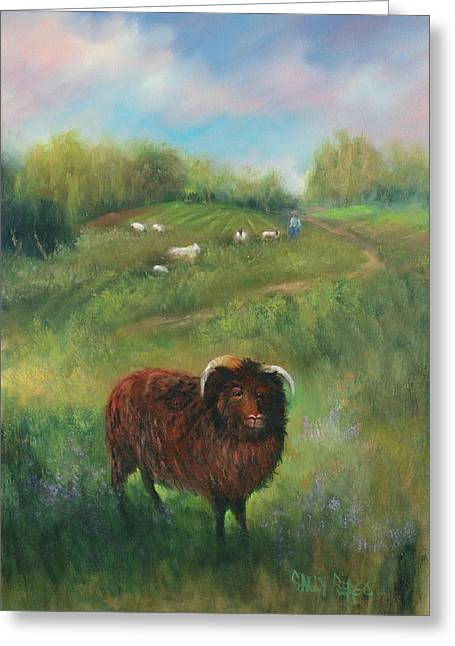 Thinking Of Ewe Greeting Card by Sally Seago