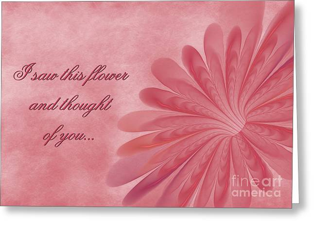 Greeting Card featuring the digital art Thinking Of You Blossom by JH Designs