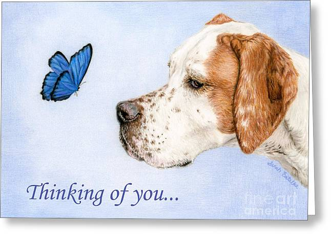 Thinking Of You Cards- Dog And Butterfly Greeting Card