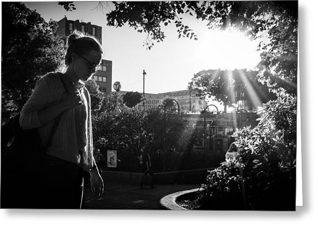 Thinking - Oslo, Norway - Black And White Street Photography Greeting Card
