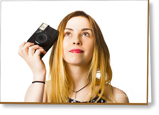 Thinking Photographer Girl Greeting Card by Jorgo Photography - Wall Art Gallery