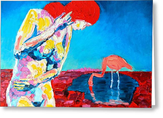 Greeting Card featuring the painting Thinking Woman by Ana Maria Edulescu