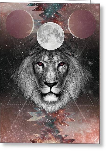 Third Eye Lion Vision Greeting Card by Lori Menna