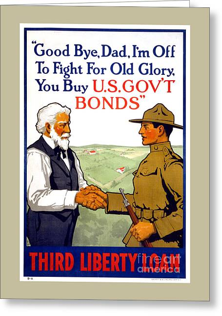 Third Liberty Loan Vintage Wwi Poster Restored Greeting Card by Carsten Reisinger