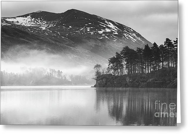 Thirlmere In The Mist Monochrome Greeting Card