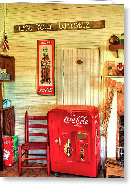 Thirst-quencher Old Coke Machine Greeting Card