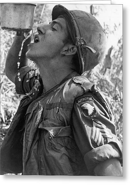 Thirsty Vietnam Soldier Greeting Card by Underwood Archives