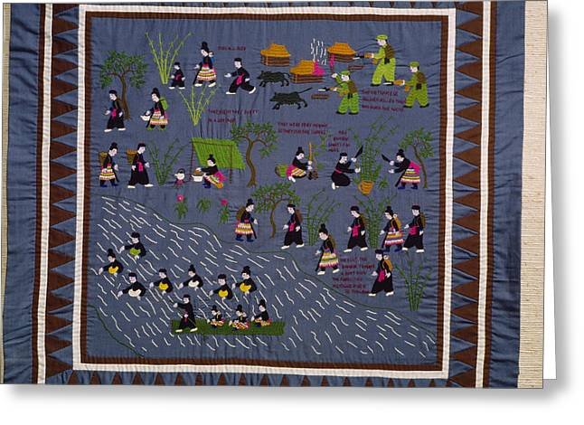 Ethnic And Tribal Peoples Greeting Cards - This Hmong Quilt Depicts Villagers Greeting Card by Robert S. Oakes