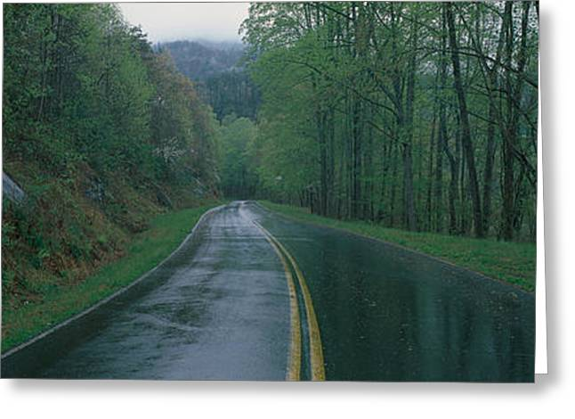 This Is A Rain Soaked Road Showing Bad Greeting Card by Panoramic Images