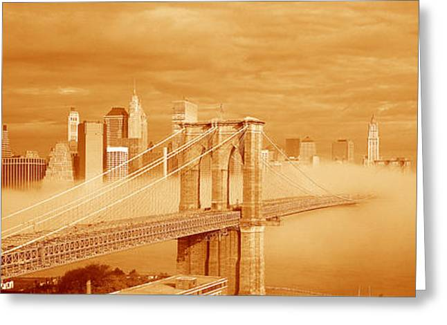This Is A Sepiatone Of The Brooklyn Greeting Card by Panoramic Images