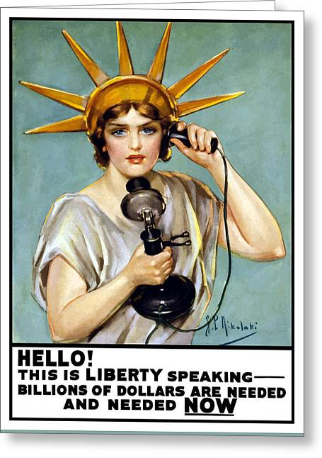 Statue Of Liberty Digital Art Greeting Cards - This Is Liberty Speaking Greeting Card by War Is Hell Store