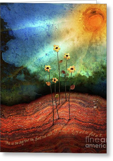 Greeting Card featuring the mixed media This Is The Day by Shevon Johnson