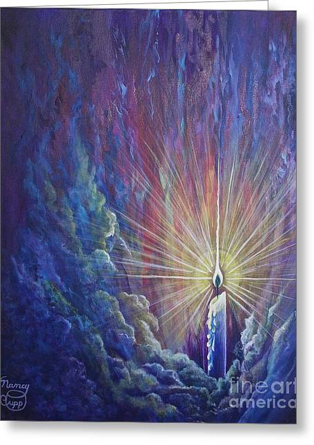 Greeting Card featuring the painting This Little Light Of Mine by Nancy Cupp