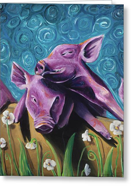 This Little Piggy Greeting Card by Julie Fernandez