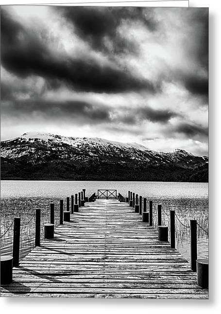 Landscape With Lake And Snowy Mountains In The Argentine Patagonia - Black And White Greeting Card