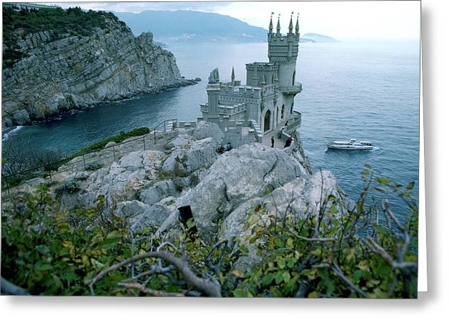 Hotels And Resorts Greeting Cards - This Neo-gothic Castle Overlooks Greeting Card by Steve Raymer