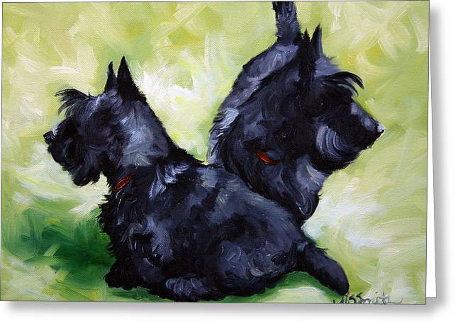 Scottish Terrier Puppy Greeting Cards - This Way or That  Greeting Card by Mary Sparrow