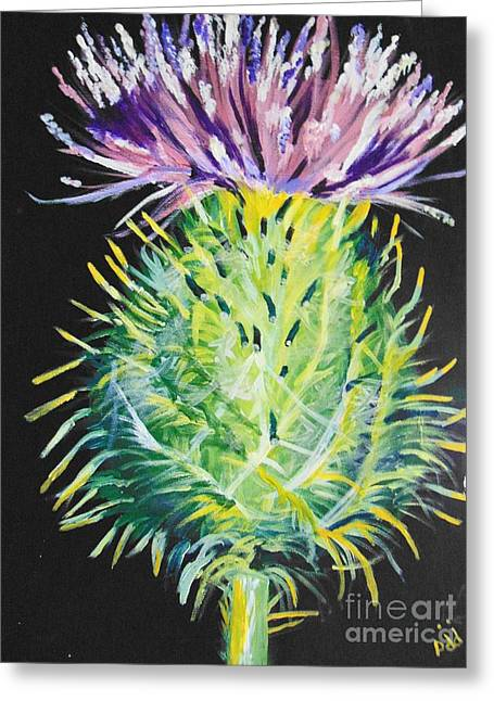 Greeting Card featuring the painting Thistle by Saundra Johnson
