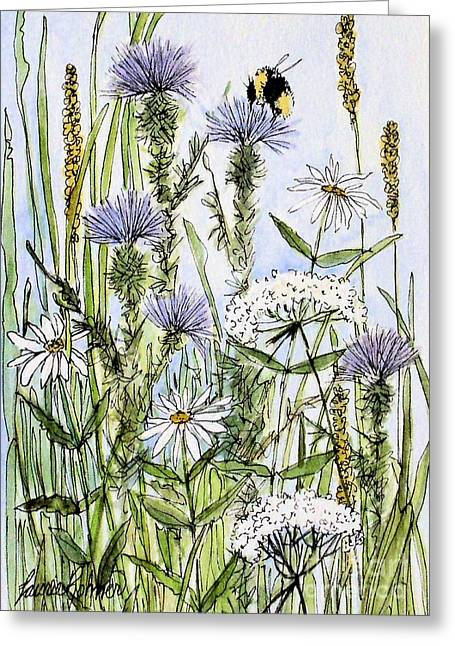 Thistles Daisies And Wildflowers Greeting Card