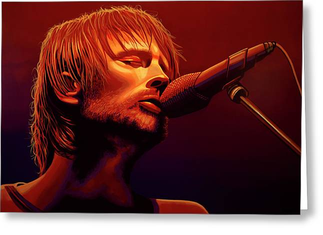 Thom Yorke Of Radiohead Greeting Card by Paul Meijering
