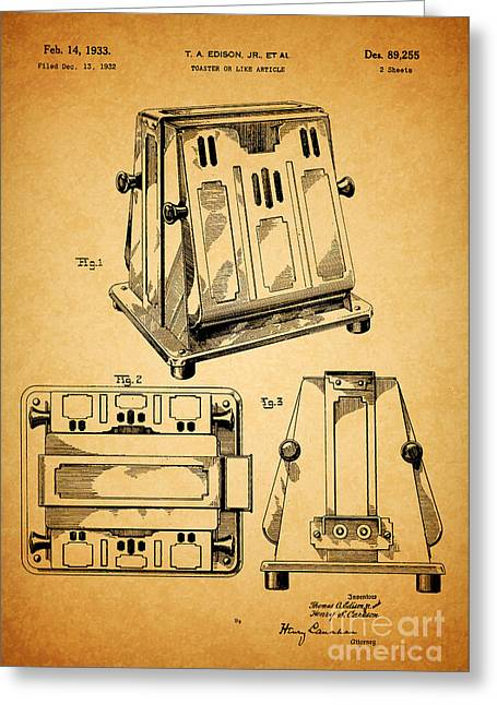 Thomas A. Edison Jr. Toaster Patent 1933 1 Greeting Card by Nishanth Gopinathan