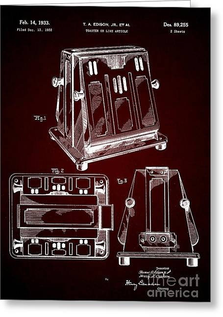 Thomas A. Edison Jr. Toaster Patent 1933 2 Greeting Card
